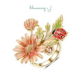 astrologie |Humming J瓢虫与雏菊戒指女个性开口指环手饰送女友