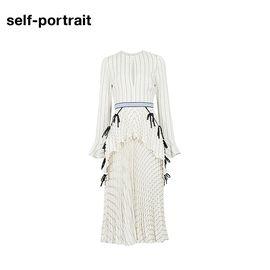 Self Portrait  SELF PORTRAIT 女士百褶条纹长款连衣裙 SP17130 白色