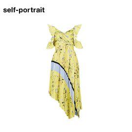 Self Portrait  SELF PORTRAIT 女士百褶长款清新连衣裙 SP17052 黄色印花