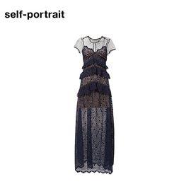 Self Portrait  SELF PORTRAIT 女士圆领短袖长款连衣裙 SP17020L 藏青色