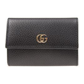 GUCCI 金属logo装饰黑色牛皮中性款式小型皮具零钱卡包钥匙包#523192 CAO0G 1000 联正国际