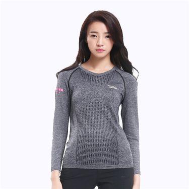 Makino/犸凯奴 2018新款 舒适透气弹力 女款长袖无缝T恤 运动休闲跑步T XM161712041