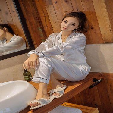 苏吉思 春季韩版女士仿真丝睡衣长袖长裤性感大码家居服简约时尚套装
