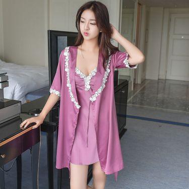 苏吉思 睡衣女士仿真丝性感夏季带胸垫睡裙两件套装中袖开衫蕾丝睡袍浴袍