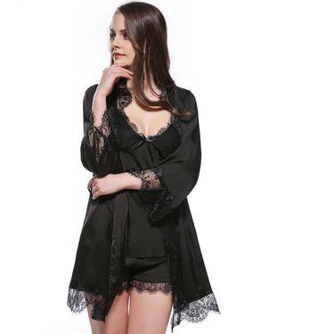 苏吉思 新款蕾丝睡衣性感吊带短裤套装仿真丝和服睡袍