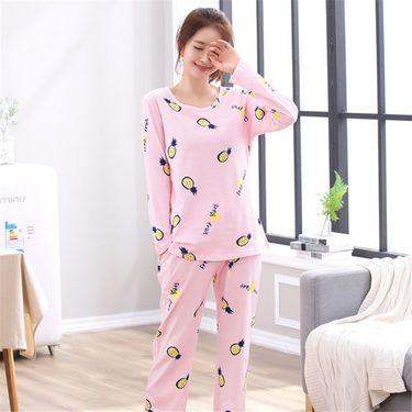 苏吉思 睡衣女士 纯棉长袖韩版春秋季学生可爱草莓菠萝家居服套装