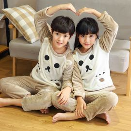 苏吉思 男童女童冬季宝宝家居服儿童法兰绒可爱卡通小孩加厚款睡衣套装YQB-WJ16-1