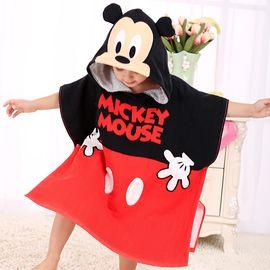 DISNEY 迪士尼儿童连帽纯棉纱布可穿浴巾斗篷宝宝沙滩巾带帽吸水洗澡浴袍