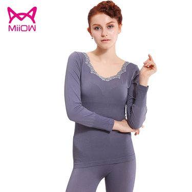 Miiow/猫人  新款女士保暖套装基础打底V领修身显瘦蕾丝美体内衣秋衣秋裤