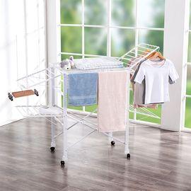 丽芙 可折叠大容量碳钢晾晒架  阳台晾衣架落地折叠不锈钢翼型晒衣架室内 凉挂衣架婴儿尿布架家用