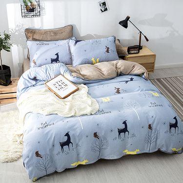 宝瑞祥 水洗棉法莱绒四件套 AB版设计 加厚保暖 林间 床上用品 床品