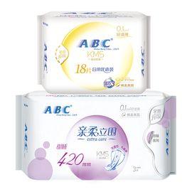 ABC A卫生巾轻透薄绵柔表层240mm18片+420mm3片日夜用组合2包