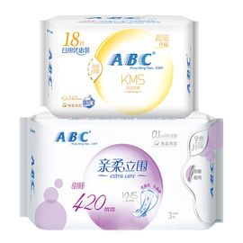 ABC 卫生巾棉柔纤薄240mm18片+轻透薄420mm3片日夜用组合2包