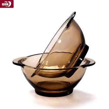 青苹果 欧式餐具茶色家用玻璃碗防烫加厚双耳碗餐盘水果沙拉碗