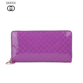 GUCCI/古驰 女士紫色漆皮长款钱包 308005 AR91G 5577-025紫色 洲际速买