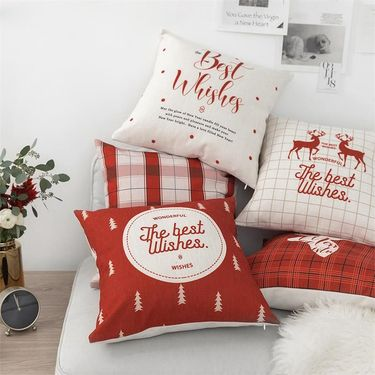 范居态度 ins简约现代红色沙发靠垫办公室靠枕床头靠背汽车护腰靠垫抱枕套