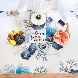 范居态度 田园美式花卉餐桌布艺台布加厚茶几布客厅餐厅书桌多用盖巾布 B款