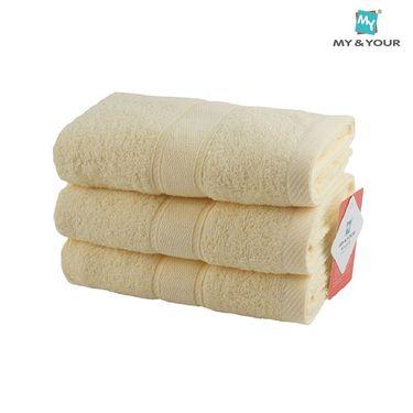 MYYOUR 全棉素色缎档毛巾2条装【买两份送一条面巾】