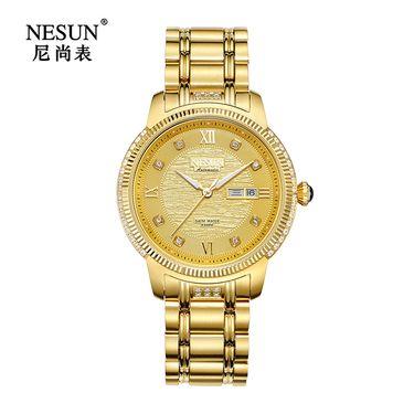 Nesun尼尚 时尚商务男士手表精钢日历镶石潮流休闲机械腕表MS9308B