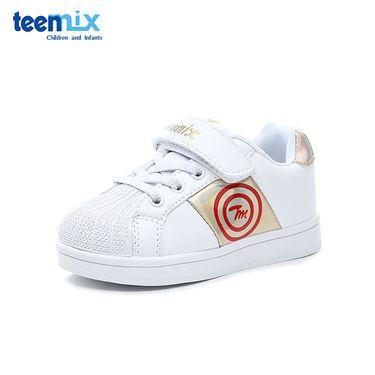 Teenmix/天美意 童鞋小白鞋2018秋季新款男童时尚休闲鞋女童透气运动鞋DX0382