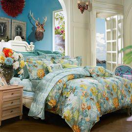 富安娜 FUANNA  宛若清风 纯棉印花床单四件套 1.5床/1.8床   两种尺寸可选新
