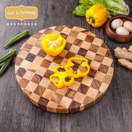 LIKUAI/利快 lcliving泰国进口相思木棋盘格圆形切菜板