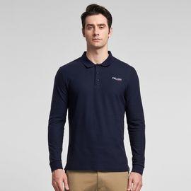 伯希和 长袖polo衫 男春秋翻领T恤舒适透气修身纯色中青年休闲男装
