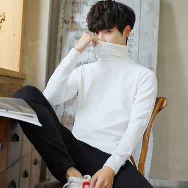 库依娜 新款毛衣男高领休闲纯色打底针织衫都市时尚修身保暖套头毛衣MLS18708