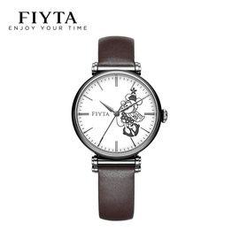 飞亚达(FIYTA) 手表迪士尼限量合作款手表女防水皮带自动机械表时尚复古女士手表LA850006.BWK