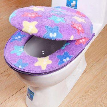 洁比世 马桶垫圈 两件套坐垫拉链款加厚保暖马桶圈 坐便套 星型紫
