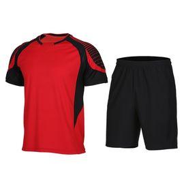 范斯蒂克  夏季新款健身服套装男士跑步服速干短袖短裤薄篮球运动服两件套 XLF011-018