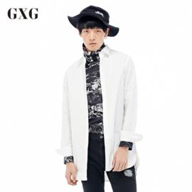 GXG 衬衫男装 秋季男士修身时尚白色休闲长袖衬衫棉衬衣青年潮流男