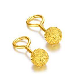 古钻 GZUAN 黄金耳钉 足金圆球珠形磨砂女士款耳钉耳饰 约1.2克  ZGK0003
