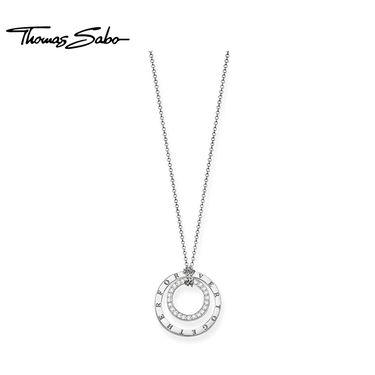 Thomas Sabo 女细款锁骨链双圆环吊坠925银项链KE0021-725-14 洲际速买