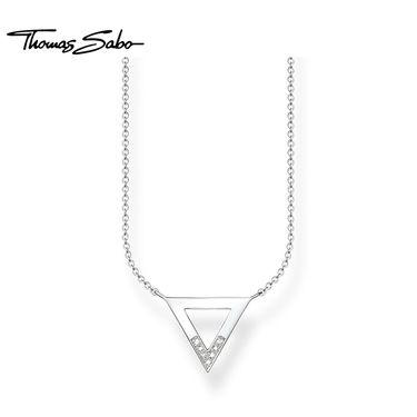 Thomas Sabo 镂空三角形925银锁骨链女款可调节项链KE0007-725-14 洲际速买
