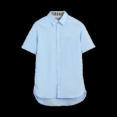 BURBERRY 博柏利 浅蓝色短袖弹力棉男士衬衫#8003077 联正国际