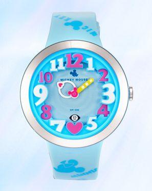 迪士尼 炫彩立体数字多彩带日历卡通儿童手表舒适学生女表