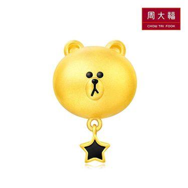 周大福  LINE FRIENDS系列可妮兔 布朗熊 转运珠足金黄金吊坠 赠送皮绳