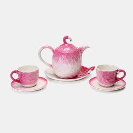 唯品优选【唯品会】茶具套装 火烈鸟新骨瓷茶具 6件装 茶杯茶壶