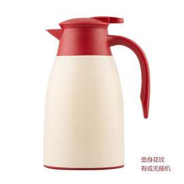 lanpiind 桌面壶咖啡壶办公用家用保温壶欧式糖果色保温瓶壶玻璃内胆暖壶水瓶壶1L米黄色