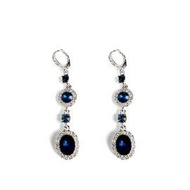 Givenchy/纪梵希 华丽系列时尚深蓝色 施华洛世奇人造水晶长款女士耳坠 60442018