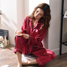 恒靓 2018新款 仿丝绸冰丝睡衣情侣款 酒红纯色开衫家居服套装/4010