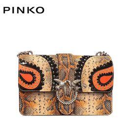 PINKO /品高 LOVE 女士时尚单肩包 蛇纹燕子包 红黑色 洲际速买