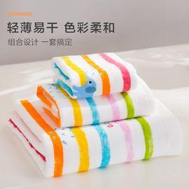 毛浴套装 全棉纱布方面浴毛巾3件套毛巾礼盒装方巾面巾浴巾