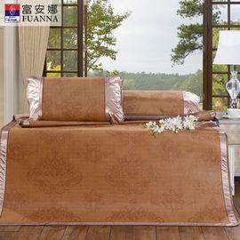 【易购】富安娜凉席三件套1.8m床可折叠夏季席子1.5夏凉席单人清凉席约克郡 1.8m床(6英尺) 咖色
