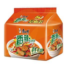 康师傅 方便面(KSF)丰盛经典 香辣牛肉面  泡面五连包
