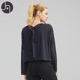 jambeau 休闲瑜伽服健身房跑步日常出街运动长袖T恤性感露背装