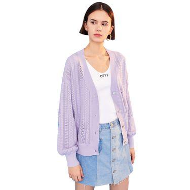 初语 针织衫女长袖春装新款V领镂空多种织纹多色薄款毛衣开衫 8910413007