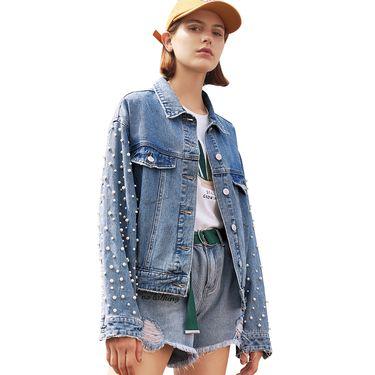 初语 牛仔外套女春装新款韩版宽松珍珠装饰短款流行夹克大衣 O8911405021
