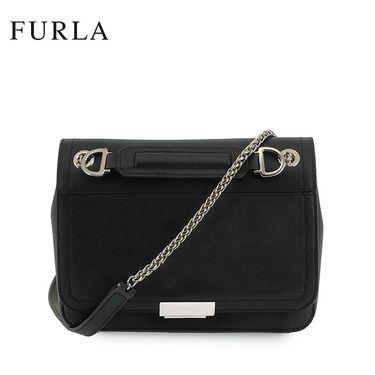 FURLA Deliziosa 女士手提链条单肩斜跨包 Nero 962212  翻盖小方包 黑色 锁扣装饰 洲际速买